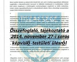 Összefoglaló, tájékoztató a 2014. november 27-i soros képviselő-testületi ülésről