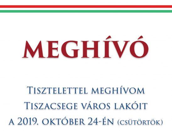 Tiszacsege Város Önkormányzata Képviselő-testülete – Alakuló ülés 2019. október 24.