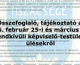 Összefoglaló a 2015. február 25-i és március 13-i rendkívüli képviselő-testületi ülésekről