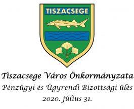 Pénzügyi és Ügyrendi Bizottsági ülés – 2020. július 31.